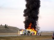 Greyhound bus fire on highway near Calgary