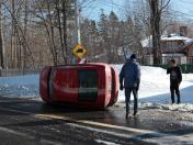 Car flip in Dorval